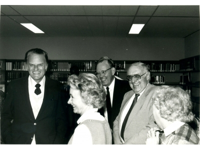 Billy Graham visiting Tyndale Theological Seminary in the mid 80's